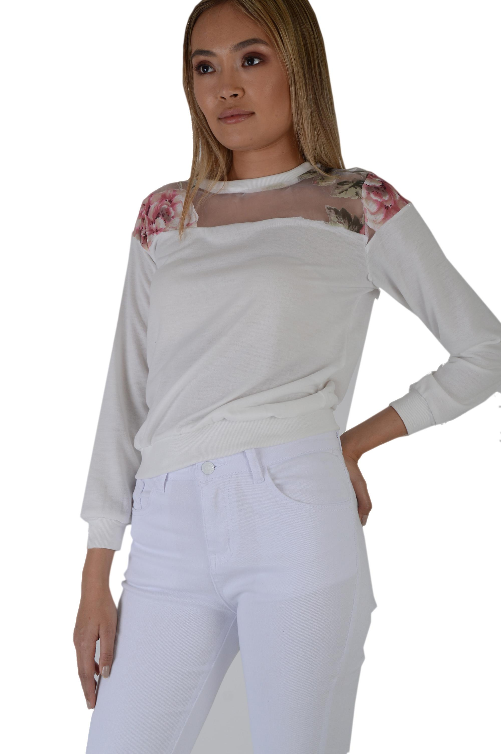 Lovemystyle Cream Fine Knitted Jumper With Floral Mesh Inset - SAMPLE