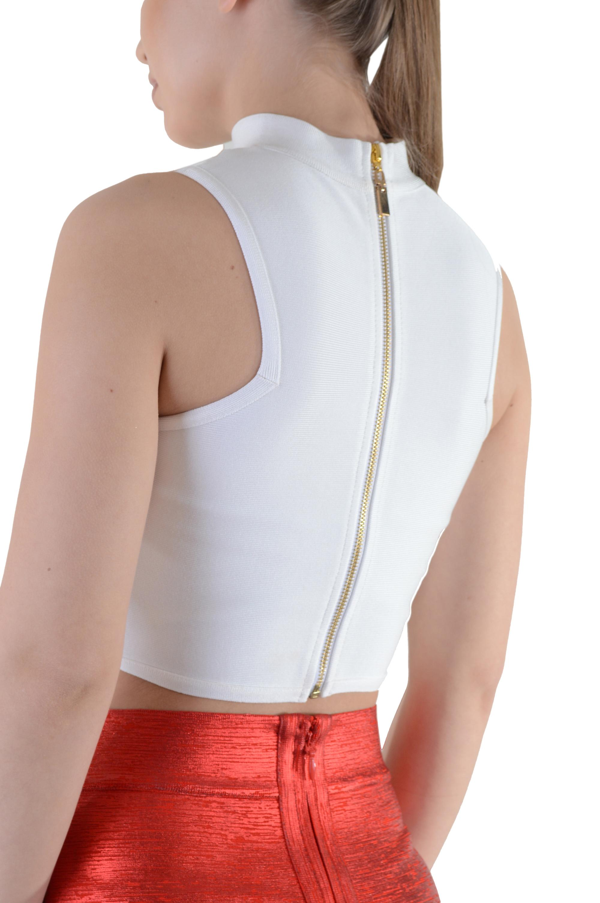 Lovemystyle White Bandage Material Crop Top With Zip Back