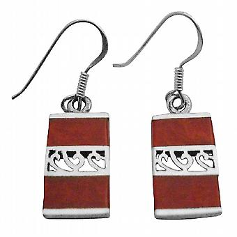 Red Coral Beautiful Inlay Red Coral Sterling Silver 92.5 Stamped