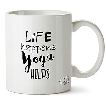 Hippowarehouse Life Happens Yoga Helps 10 oz Mug