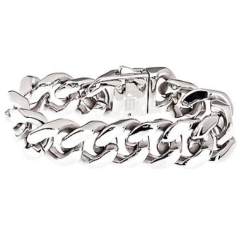 Iced out bling stainless steel bracelet - SOLID CURB 20mm silver