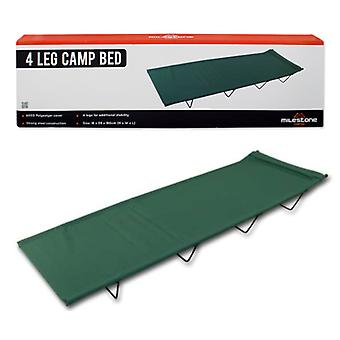 Milestone 4 Legs Folding Single Camp Bed Green