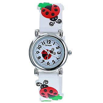 Citron KID161 Analogue Girls 3D Red & Black Ladybird Motiff White Silicone Strap Watch