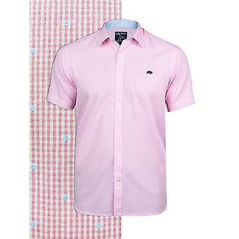 Short Sleeve Gingham Dobby Shirt - Pink