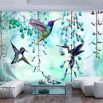 Fototapet - Flying Hummingbirds (Green)