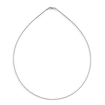 Rhodié Omega sølv halskæde 42cm