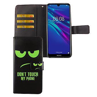 Huawei Y6 2019 Tasche Handy-Hülle Schutz-Cover Flip-Case mit Kartenfach Don't touch my phone