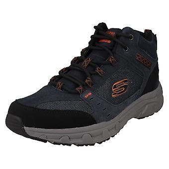 Mens Skechers Memory Foam Ankle Boots Oak Canyon Iron Hide