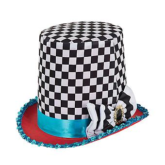 Bristol Novelty Unisex Adults Stovepipe Tall Chequered Hat