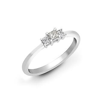 Jewelco London Ladies Solid 18ct White Gold 4 Claw Set Princess G VS 0.25ct Diamond Trilogy Engagement Ring 3.5mm