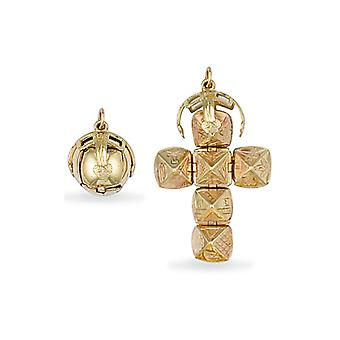 Jewelco London Men-apos;s 9ct Yellow Gold Globe Cross Masonic Orb Ball Pendant