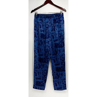 H by Halston Women's Pants Etch Print Woven Pull-On Ankle Blue A272371