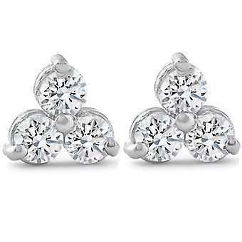 2ct tre Stone diamant øredobber 14K hvitt gull