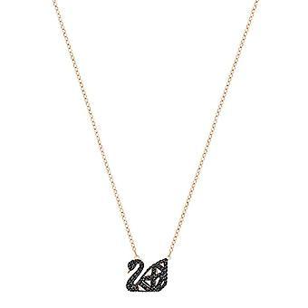 Swarovski Facet Swan necklace - black - mixed plating