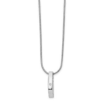 Polished Lobster Claw Closure White Ice .01ct. Diamond Necklace 18 Inch Jewelry Gifts for Women