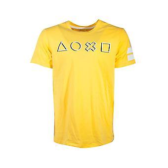 PlayStation T-paita kuvakkeet pitkä linja ohjain logo uusi virallinen miesten keltainen