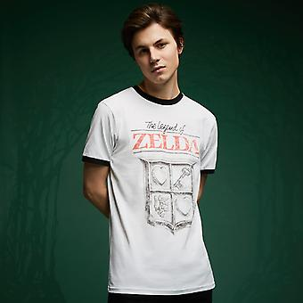 Legend Of Zelda Rétro Logo T-Shirt - White / Black Ringer
