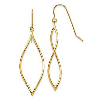 14k Yellow Gold Shepherd hook Polished Twisted Oblong Dangle Earrings Jewelry Gifts for Women