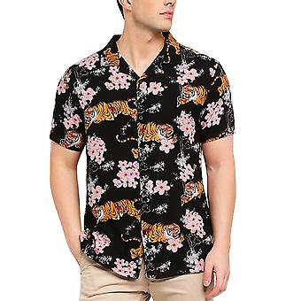 Tapfere Seele Mens Khan Kurzarm Button Down Floral Shirt Top - schwarz/Multi
