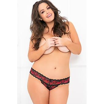 Lace thong with Open crotch-Plus Size