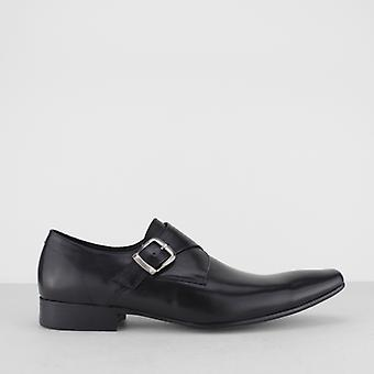 Blakeseys Gower Mens Leather Monkstrap Chisel Toe Shoes Black