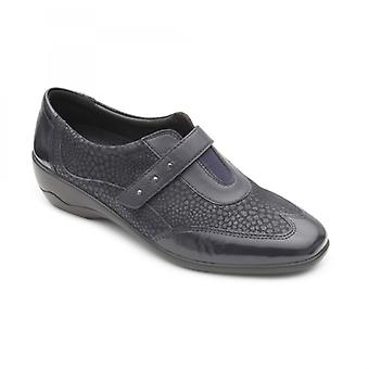 Padders Topaz Ladies Leather Wide (e/2e) Shoes Navy
