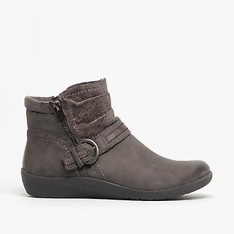 Earth Spirit Fairfax Ladies Nubuck Leather Ankle Boots Dark Grey