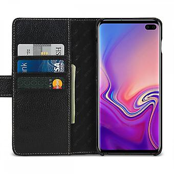 Case For Samsung Galaxy S10 Plus Black Grained Card Holder In True Leather