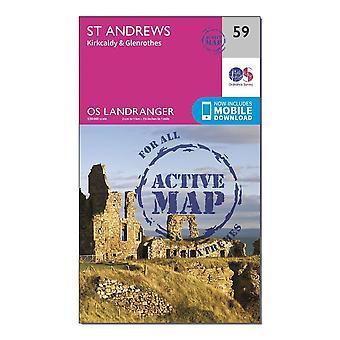 New Ordnance Survey Landranger Active 59 St Andrews Kirkcaldy & Glenrothes Map Orange