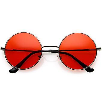 经典列侬风格渐变彩色镜头薄金属框架圆太阳镜 53 毫米