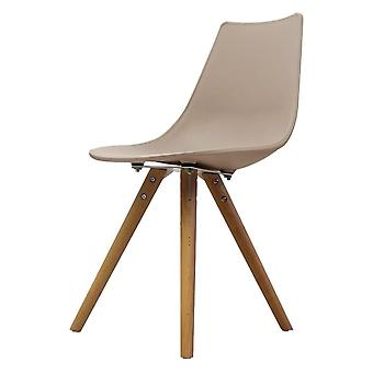 Fusion Living Iconic Beige Plastic Dining Chair With Light Wood Legs