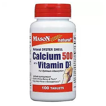 Mason oyster shell calcium 500+ vitamin d3, tablets, 100 ea