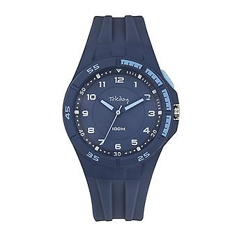 Tekday Watch 654682 - Analog Silicone Blue Lunette Bleu Ciel Homme