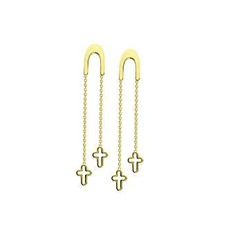 14 k Gelbgold U Form Front Threader Ohrringe mit Baumbau öffnen religiösen Glauben Kreuz Schmuck Geschenke für Frauen