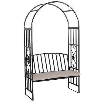 Outsunny Garden Metal Arch Bench with Cushion Outdoor Patio Rose Trellis Arbour Pergola for Climbing Plant 114L x 60W x 206H cm
