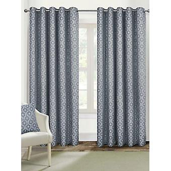 Belle Maison Lined Eyelet Curtains, Milano Range, 46x54 Silver