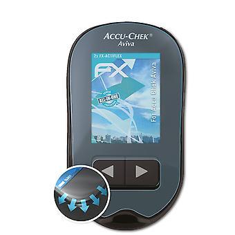 atFoliX 2x Anti Shock Screen Protector compatible with Accu Chek Aviva matt&flexible