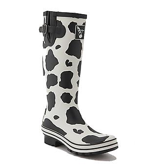 Evercreatures Ladies Evergreen Rubber Wellies Cow Print Pattern - Various Sizes