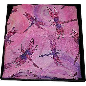 Silk Chiffon Dragonfly Collection Scarf by Ladycrow Scotland - Carnation Pink