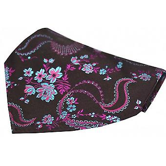 David Van Hagen Floral Pattern Silk Pocket Square - Dark Purple