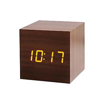 Digital Alarm Clock, Square - Brown with Yellow Numbers