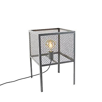 QAZQA Industrial table lamp antique silver - Cage Robusto