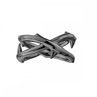 Shaun Leane Sterling Argent Noir Rhodium Rose Thorn Wide Band Ring