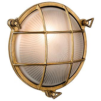Firstlight Marina Nautical Round Cast Brass Bulkhead Wall Light Outdoor