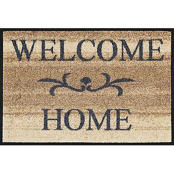 lavagem + esteira seca bem-vindo em casa bege 40 x 60 cm, tapete lavável