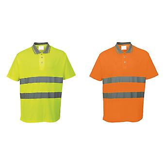 Portwest Cotton Comfort Reflective Safety Short Sleeve Polo Shirt (Pack of 2)