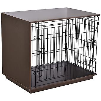 PawHut 73.5x89cm Duo Frame Dog Cage Half Crate w/ 2 Secure Doors Flat Top Elevated Base Small Animal Brown