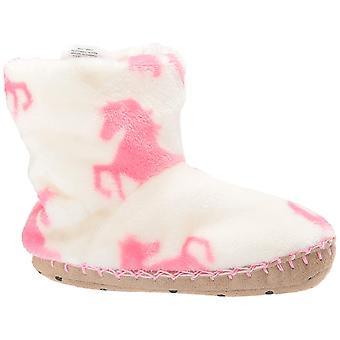 Hatley Girls' Little Fuzzy Fleece Slouch Slippers, Playful Horses, Medium (8-...