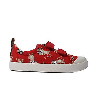 Clarks Comic Air Red Canvas Unisex Rip Tape Casual Shoes