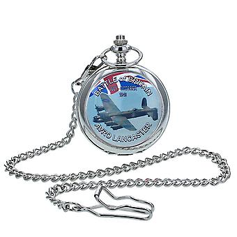 Boxx Gents White Dial Battle Of Britain Lancaster Pocket Watch op 12 Inch Chain Boxx416